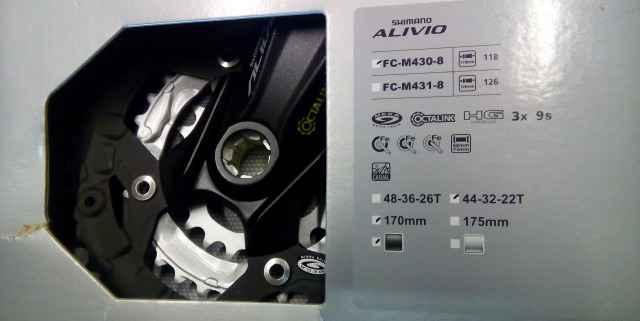 Система Shimano Alivio FC-M430 3x9S+каретка ES25