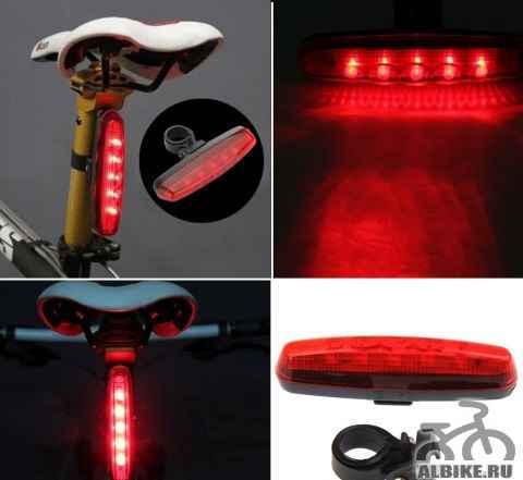 Фара задняя для велосипеда 5 LED вертик. / гориз