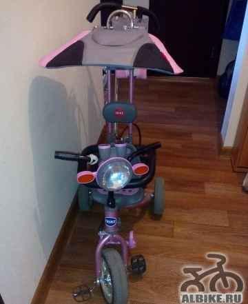 Велосипед детский с ручкой розовый