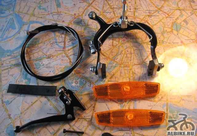 Скоба тормоза для вело с тросом и рычагом новая