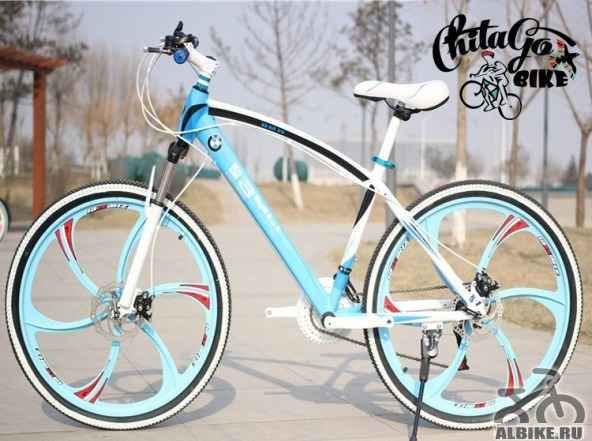 Велосипед БМВ X1, цвет бело-голубой