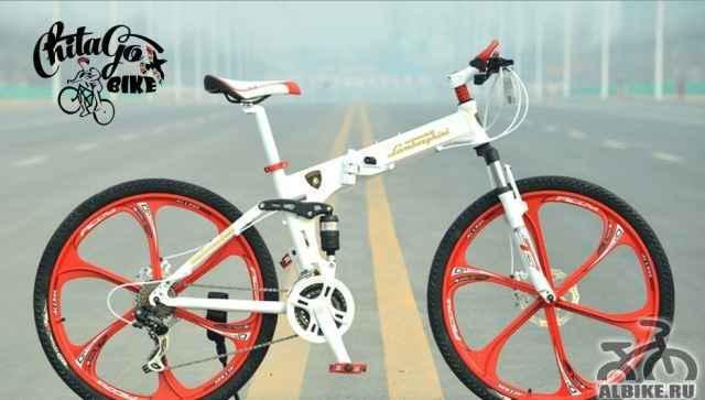 Велосипед Ламборджини белый с красными литьем
