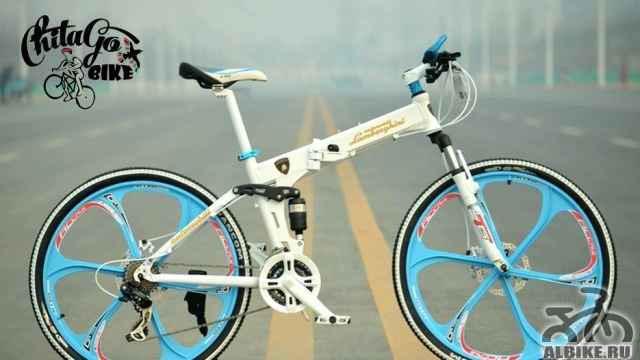 Велосипед Ламборджини белый с синими дисками