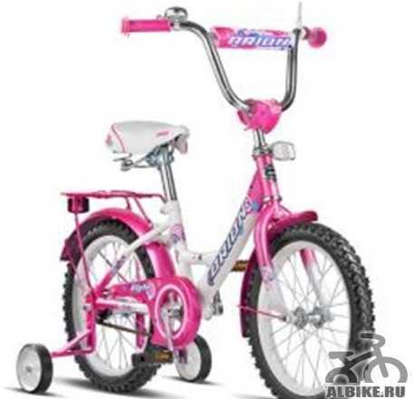 Велосипед детский розовый сo съемными колесами