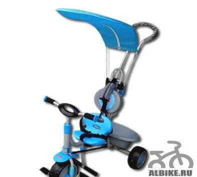 Детский трехколесный велосипед с ручкой. Голубой